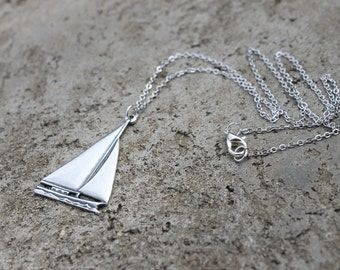 Silver Sail Boat Necklace // Sea Necklace // Ship Necklace // Nautical Necklace