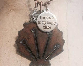 SHELL beach with pewter starfish charm pendant necklace made of rusted rusty recycled metal