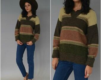 1970s earth tone acrylic pullover sweater