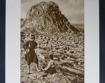 1920s Antique Print of Afyonkarahisar, Available Framed, Opium Art, Turkish Decor, Old Heroin Gift, Asia Minor, Asian Turkey, Ottoman Empire