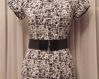 Vintage 1980's AB Studio Abstract Print Dress With Belt