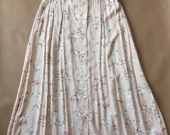 vintage dusty pink maxi skirt / flower print boho maxi skirt / SM