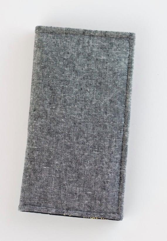 Skulls Phone Wallet, Gray Bifold Wallet, Credit Card Wallet, Black, Gray, and Gold Skulls Fabrics, Handmade