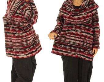 HR600R sweater size large sweater walking knitting Gr. 42-52 red tunic