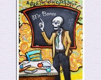Mr. Bones Teacher Personalized Art Print Day of the Dead Skeleton Graduate. Classroom Male Teacher Gift. Custom Name dia de los muertos art