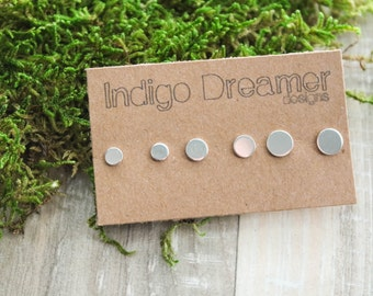 Nail head studs | silver circle studs | Tiny Silver Studs | Oxidized Studs | Second piercing Studs | Silver post earrings