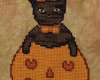 Primitive Cross Stitch - Green Eyed Kitty - Pattern Only or Pattern w/Floss Kit