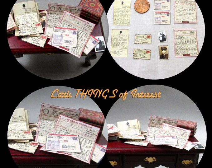 Miniature WWII Love Letters 1:12 Scale Dollhouse Miniature Letter Envelope Mail Military