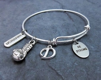 Be Strong Charm Bracelet -  Strength Bracelet - Inspirational - Expandable Bangle - Boxing Glove Charm - Warrior - Strengh Jewelry -