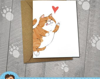 Happy Orange Cat, I love You Card, Note Cards, 5x7 Kraft Envelope, Recycled, Blank Kraft Greeting Card, Great for any use, Kitty