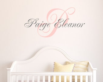 Girls Name Monogram Wall Decal - Baby Girl Nursery - Teen Girl Name Decals - Personalized Kids - Kids Monogram Decals - Nursery Girls Decal