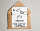 Wedding Reception invitation, We tied the Knot! Elopement Announcement