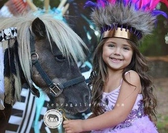 KIDS Pink & Purple Feather Crown Headdress Gold Metallic Leather by Paradise Gypsies.
