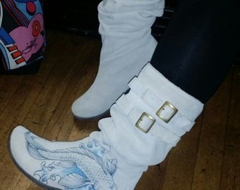 Hand painted, white suede  ladies boots - original art work
