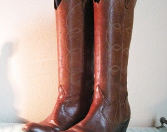Wrangler Tall Leather Western Boots Women 7M - 7.5M