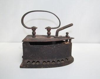 Antique Vintage primitive Cast Iron Coal iron, Ironing, flat iron, sad iron, iron Collectible, wood handle, rustic country, household