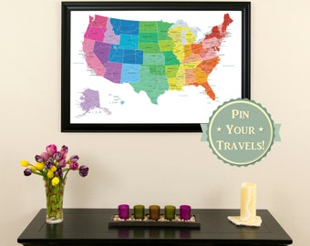 Colorful Us Push Pin Travel Map 24x36 Push Pin Travel Map Brightly Colored