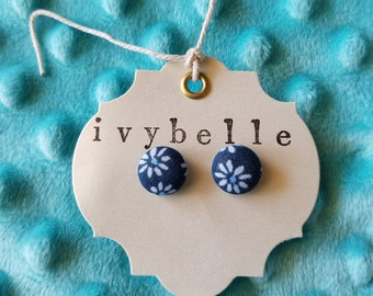 blue and white flower fabric covered button earrings