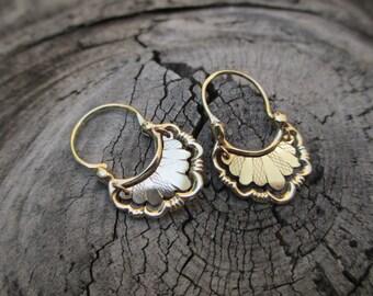 Solid 10K Yellow Gold Dangle Hoop Earrings Fringe Hanging Hippie Pierced Hindi Indian Wedding Gift Traditional Fan Flower Funky Daily Wear