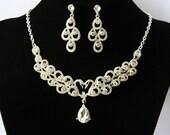 Bridal Set, Crystal Necklace And Earrings Set, Bridal Crystal Swan Set, Bridal Accessory, Wedding Jewelry, Wedding Necklace, Rhinestone Set