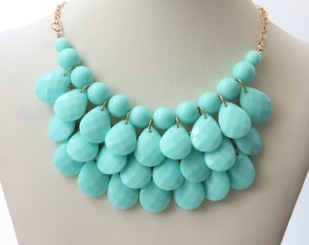Party Necklace, Aqua Blue Necklace, Women's Jewelry, Bridal Necklace, Wedding Jewelry, Chunky Necklace