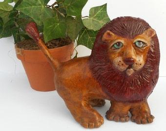 Paper Mache Clay Lion Sculpture - Leon the Lion