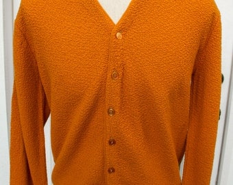 vintage 1960s STUART McGUIRE Sportswear virgin orlon burnt orange cardigan sweater men's Large