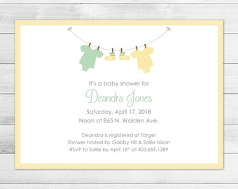 Yellow Clothesline Printable Baby Shower Invitation