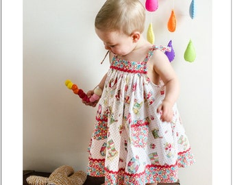 Baby dress sewing pattern, girls dress pattern sizes 6-9 months to 8 years DAISY SUNDRESS by Felicity Patterns