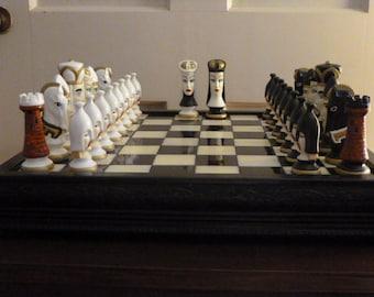 King Arthur Theme Ceramic Chess Set  Bust Style  w/ Custom Hand Made Grecian Marble Board