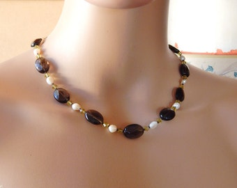 Smoky Quartz Freshwater Pearl Crystal Necklace, Delicate Gemstone Choker Necklace Brown Green White, Autumn Fall Jewelry, Gift For Her
