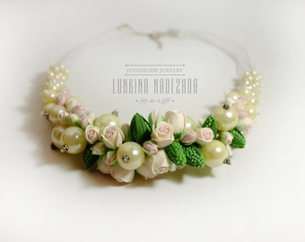 Ivory pearl polymer clay bridal chunky necklace with pale pink rose flowers perfect wedding jewelry