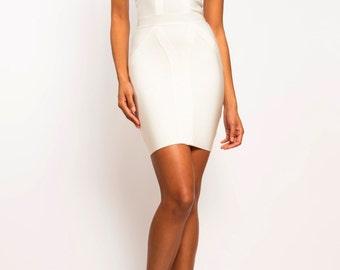 Cold Shoulder White Bodycon Bandage Dress - Wedding Prom - Herve Ledger AllSaintsMichael Kors, Gucci Tom Ford Kim Kardashian, Kendall Jenner