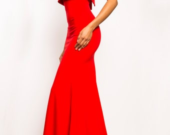 VERONICA - Red Strapless Stretch-Crepe Mermaid Bodycon Train Gown Dress Prom Evening Wedding Red Carpet - Tom Ford Michael Kors