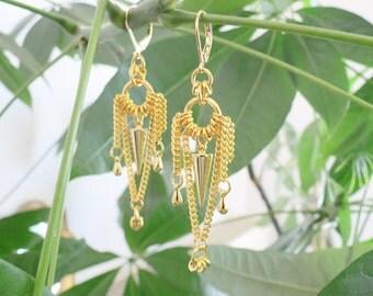 ORALIE - gold spike earrings, gold chain earrings, delicate earrings, chandelier earrings, boho chic earrings, modern earrings, gypsy
