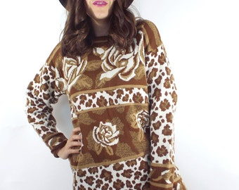 Vintage Rose and Leopard Print Sweater Dress