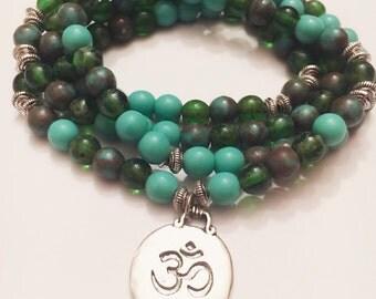 Turquoise/Aventurine 108 Mala Bracelet - Mala Necklace - Yoga Mala - Meditation Mala - Wrap Bracelet