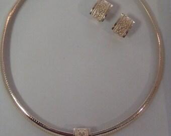Stunning 14k Yellow Gold Heavy Omega Necklace Slide Pendant & Earrings Set hallmarked AE