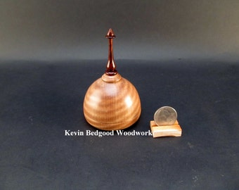 Box Lidded Container Hand turned out of Curly Pyinma with a finial made out of Cocobolo Rosewood, jewelry stash