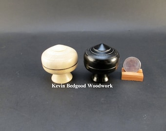 Box boxes Lidded Container Wedding Ring Ebony and American Holly wood, jewelry stash