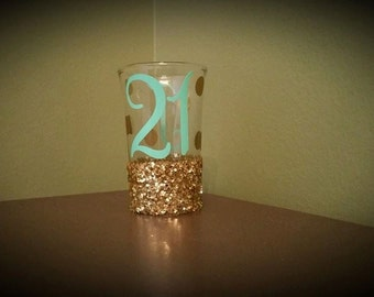 21st Birthday Glittered Shot Glass with Initial; Birthday; Celebration; Present/Gift; 21st; 30th Birthday; 40th Birthday; 50th Birthday