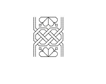 Machine Embroidery Design Instant Download - Blackwork Trim Fretted Flowers 1