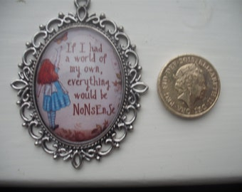 Lovely Handmade Glass cameo necklace alice in wonderland inspired II