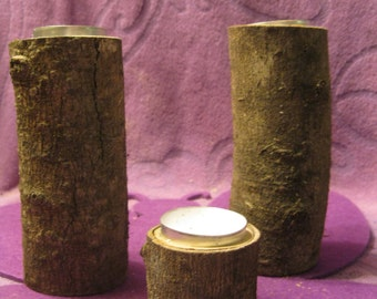 3 RUSTIC  MAGNOLIA WOODEN Candle  Holder