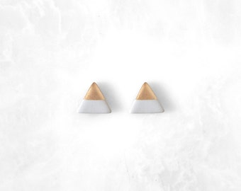 PALOMA GRAY Rose Gold Dipped Triangle Stud Earrings / Geo Studs Weightless Everyday Simple Modern Jewelry