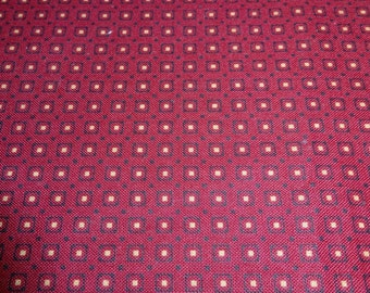 One Half Yard Cut of 1980s Vintage Wine Colored Foulard Fabric, 44 In. Wide, Cotton Poly Blend, Great for Small Craft Projects, Small Print