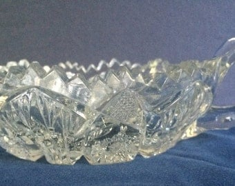 Beautiful leaded cut glass saw-tooth bowl - candy or nuts?