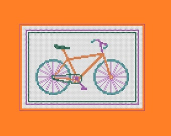 Bicycle cross stitch pattern: colourful bike