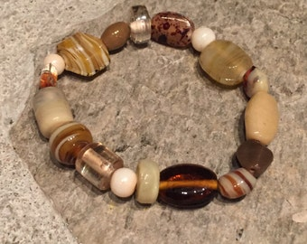 Multi Brown Tone and Cream Glass Beaded Bracelet