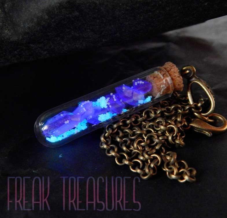 Glow in the dark resin crystal quartz vial for Glow in the dark resin